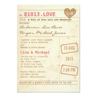 Invitación del boda de la tarjeta de biblioteca