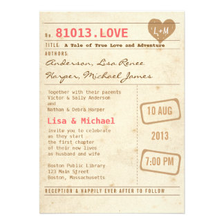 Invitación del boda de la tarjeta de biblioteca de