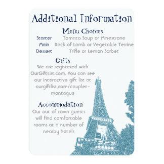 Invitación del boda de la torre Eiffel