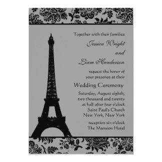 Invitación del boda de la torre Eiffel del damasco