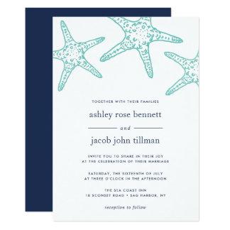 Invitación del boda de las estrellas de mar de la