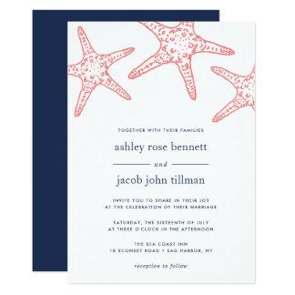 Invitación del boda de las estrellas de mar del