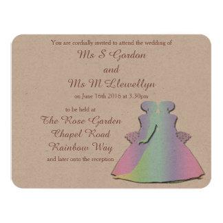 Invitación del boda de las novias lesbianas del invitación 10,8 x 13,9 cm
