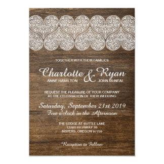 Invitación del boda de madera y del cordón con los