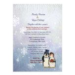 Invitación del boda de novia y del novio del pingü