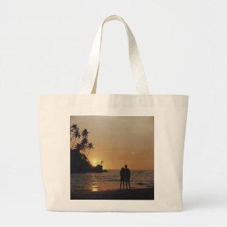 Invitación del boda de playa bolsa tela grande