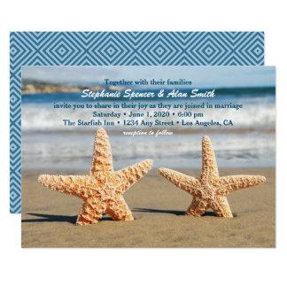 Invitación del boda de playa de los pares de las
