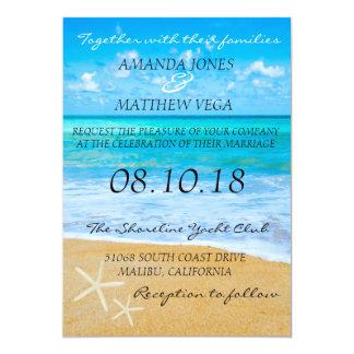Invitación del boda de playa del destino