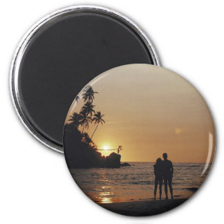 Invitación del boda de playa imán redondo 5 cm