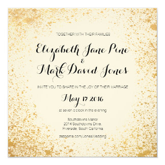 Invitación del boda del aerosol de la hoja de oro