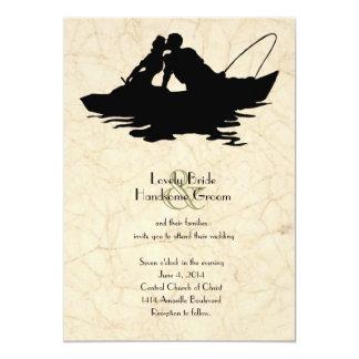 Invitación del boda del barco de los amantes de la