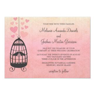Invitación del boda del Birdcage de los Lovebirds Invitación 12,7 X 17,8 Cm