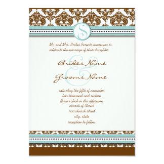Invitación del boda del borde azul de la