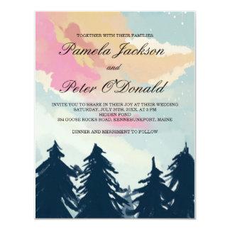 Invitación del boda del bosque de los árboles de