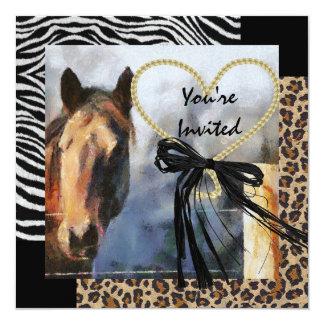 Invitación del boda del caballo y del estampado de