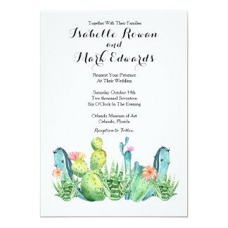 Invitación del boda del cactus de la acuarela del