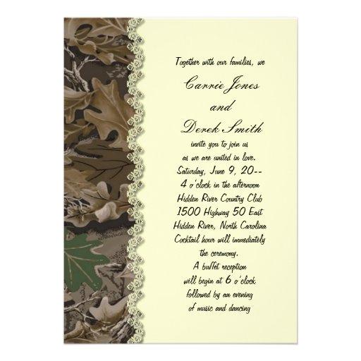 Invitación del boda del camuflaje de Camo