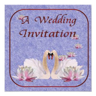 Invitación del boda del cisne invitación 13,3 cm x 13,3cm