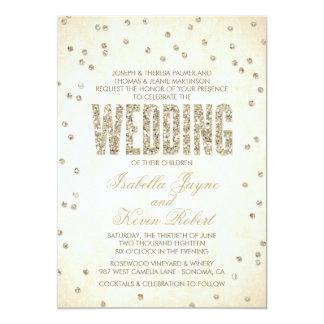 Invitación del boda del confeti de la mirada del invitación 12,7 x 17,8 cm