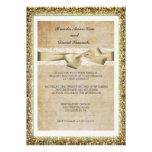 Invitación del boda del cordón del oro del brillo