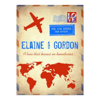 Invitación del boda del correo aéreo del vintage: