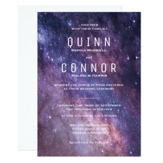 Invitación del boda del cosmos del espacio de la