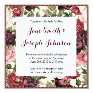 Invitación del boda del cuadrado del ramo de