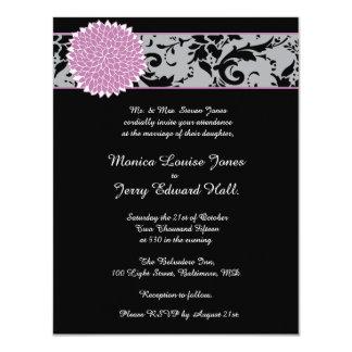 Invitación del boda del damasco invitación 10,8 x 13,9 cm