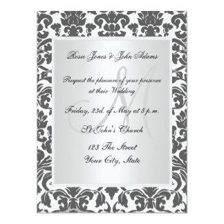 Invitación del boda del damasco blanco y negro