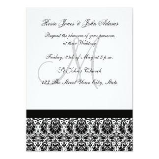 Invitación del boda del damasco blanco y negro invitación 16,5 x 22,2 cm