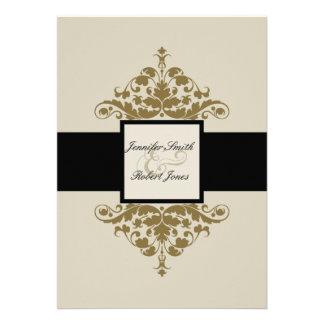 Invitación del boda del damasco del negro de marfi