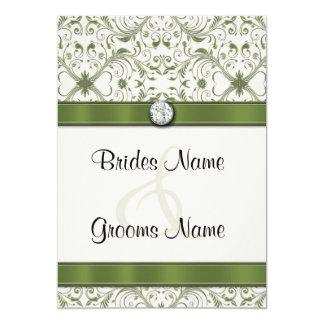 Invitación del boda del damasco del verde de musgo