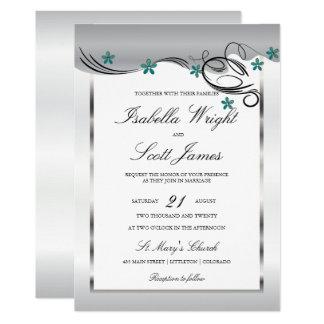 Invitación del boda del diseño floral del jade del