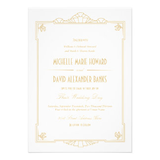 Invitación del boda del estilo del art déco