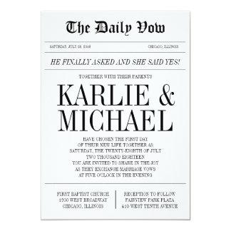 Invitación del boda del estilo del periódico