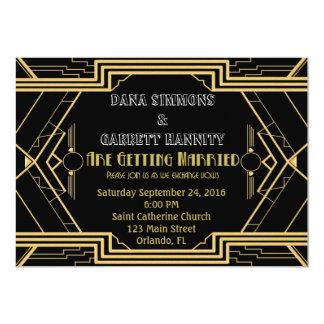 Invitación del boda del fiesta del oro de Gatsby