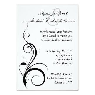 Invitación del boda del Flourish en blanco y negro