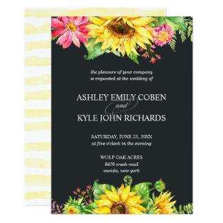 Tarjeta Invitación del boda del girasol con el fondo