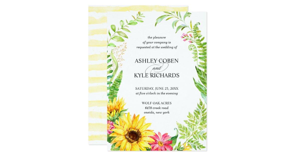 Invitación del boda del girasol con el marco | Zazzle.es