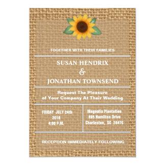 Invitación del boda del girasol y de la arpillera