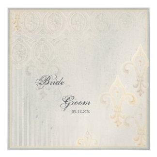 Invitación del boda del gris de Fleur di Lys