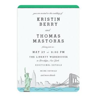 Invitación del boda del horizonte de New York City