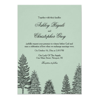 Invitación del boda del invierno - árbol de pino