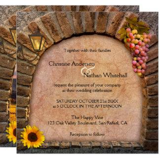 Invitación del boda del lagar del viñedo del vino