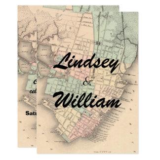Invitación del boda del mapa del SC de Charleston