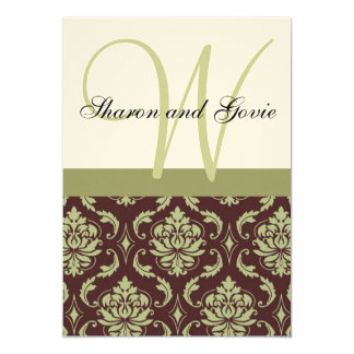 Invitación del boda del monograma del damasco de invitación 12,7 x 17,8 cm