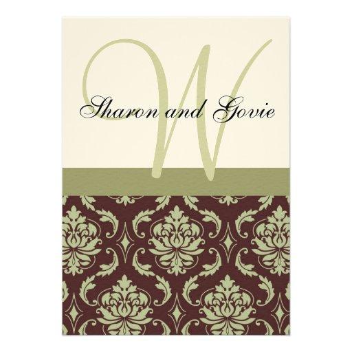 Invitación del boda del monograma del damasco de l