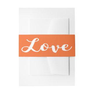 Invitación del boda del naranja y del blanco del cintas para invitaciones