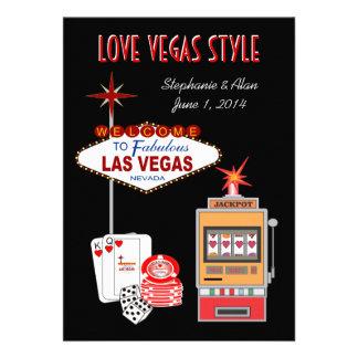 Invitación del boda del negro del estilo de Vegas