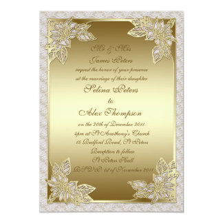 Invitación del boda del oro